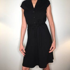 Calvin Klein Black A Line Button Down Belt Dress